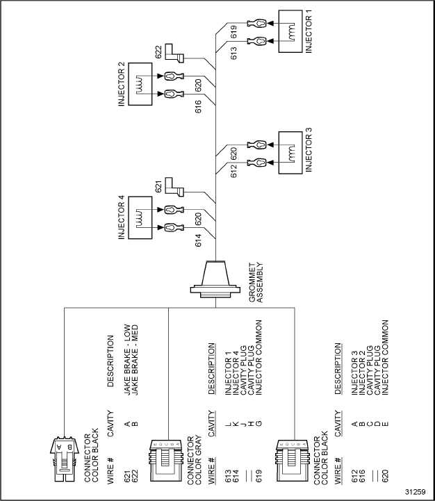 injector harness wiring schematic series 50 engines jake brake ddec troubleshooting 92 1 injector harness wiring schematic series 50 engines jake brake the following wire schematics support the injector harness